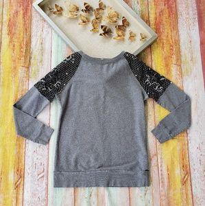 Ecote Gray Embellished Sheer Sleeve Sweatshirt M